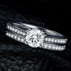 2 Piece White Gold Filled White Zircon Ring